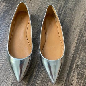 J. Crew Silver Metallic Pointed Flats